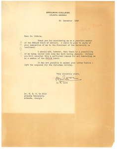 Letter from A. W. Loos to W. E. B. Du Bois