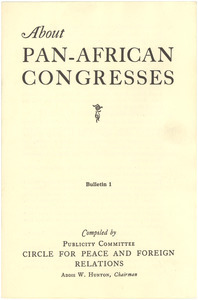 About Pan-African Congresses bulletin 1