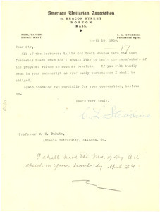 Letter from the American Unitarian Association to W. E. B. Du Bois