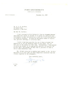 Letter from Fisk University to W. E. B. Du Bois