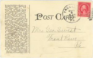Letter from Lewis (Pa.) Tax Collector to Mrs. George Sweet