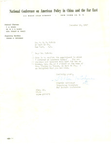 Letter from National Conference on American Policy in China and the Far East to W. E. B. Du Bois