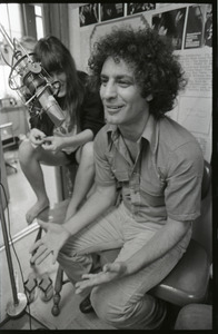 Abbie Hoffman: unidentified woman and Hoffman in WBCN studio (left to right)