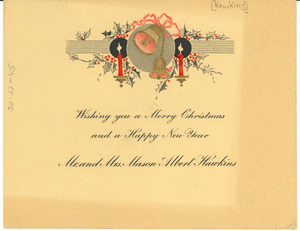 Christmas card from Mr. and Mrs. Mason Albert Hawkins