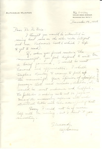 Letter from Alphaeus Hunton to W. E. B. Du Bois