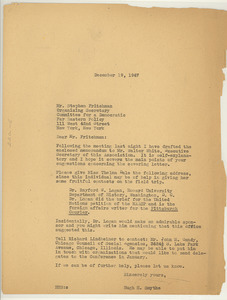 Letter from Hugh H. Smythe to Committee for a Democratic Far Eastern Policy