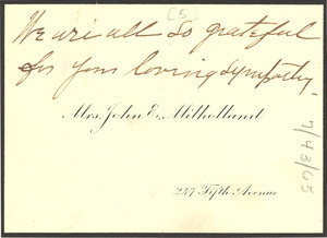 Note from Mrs. John E. Milholland to W. E. B. Du Bois