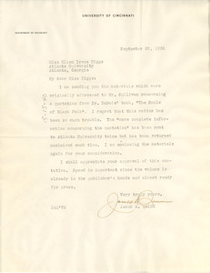 Letter from James A. Quinn to Ellen Irene Diggs