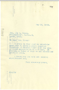 Letter from W. E. B. Du Bois to Ada M. Young