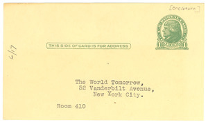 The World Tomorrow books of the month return postcard