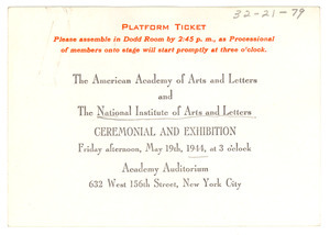 American Academy of Arts and Letters Ceremonial and Exhibition ticket