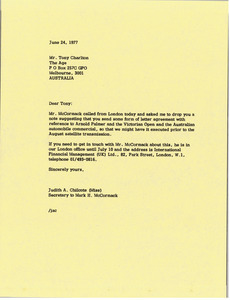 Letter from Judy A. Chilcote to Tony Charlton