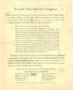 Draft of announcement of the Fourth Pan African Congress
