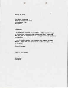 Letter from Mark H. McCormack to Keith MacKenzie