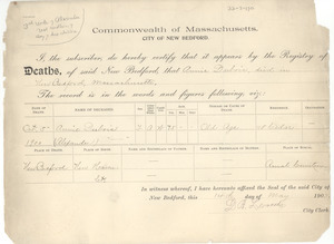 Death record of Annie Du Bois