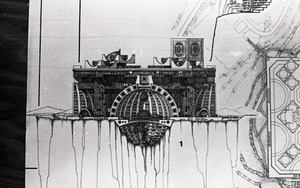 Architectural sketch of fantastic structure by Paolo Soleri