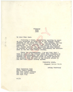 Letter from Walter White to Ernestine Rose