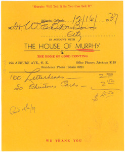 Invoice from H. S. Murphy Printing Company to W. E. B. Du Bois