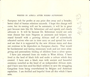 Fragment of 'Whites in Africa after Negro autonomy'