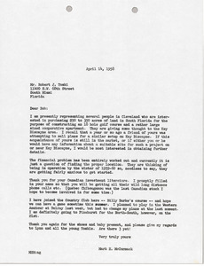 Letter from Mark H. McCormack to Bob Toski