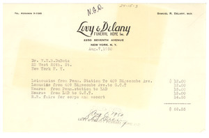 Levy & Delany Funeral Home Inc. invoice