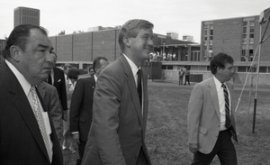Ceremonial groundbreaking for the Conte Center: Gov. William Weld (center) walking to the site of groundbreaking