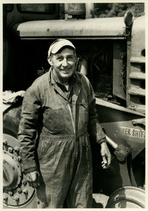 Walter Allen and railroad vehicle.
