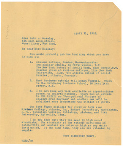 Letter from W. E. B. Du Bois to Ruth A. Moseley