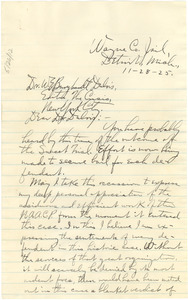 Letter from Charles B. Washington to W. E. B. Du Bois