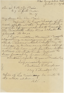 Letter from Beatrice S. Thompson to W. E. B. Du Bois