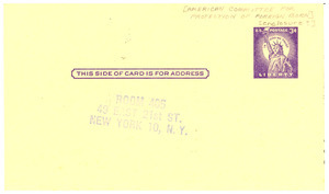 Postcard from the American Committee for Protection of Foreign Born
