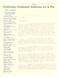 Circular letter from American Inter-Continental Peace Conference