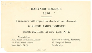 Announcement of the death of George Amos Dorsey
