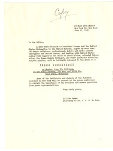 Circular letter from Lillian Hyman to unidentified correspondent