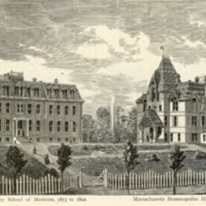 Boston University School of Medicine and the Massachusetts Homeopathic Hospital, circa 1876