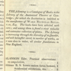 Catalogue of Books in the Boylston Medical Library (1824)