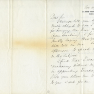 Letter from Florence Nightingale to Sir Guy Douglas Arthur and transcript