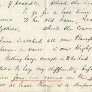 Fragment of a letter from Florence Nightingale to Charles Frewen and transcript