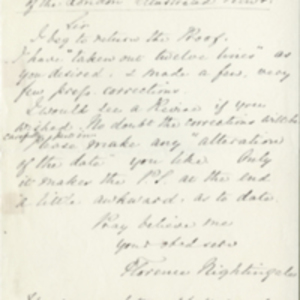 Letter from Florence Nightingale to the editor of the Illustrated London News and transcript