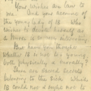 Letter from Florence Nightingale to Sir William Blake Richmond and transcript