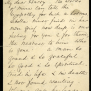 Letter from Florence Nightingale to Sir Harry Verney and transcript