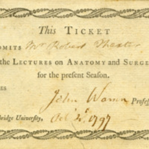 Admission ticket to the lectures on anatomy and surgery for Robert Thaxter