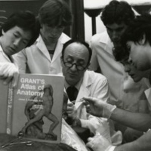 Elio Raviola performing an anatomical dissection with students