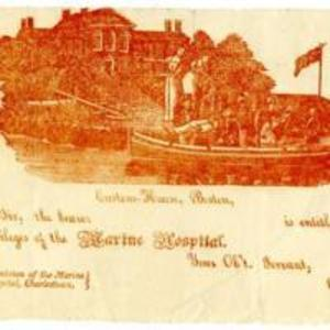 Ticket granting privileges to the Marine Hospital at Charlestown, with engraving