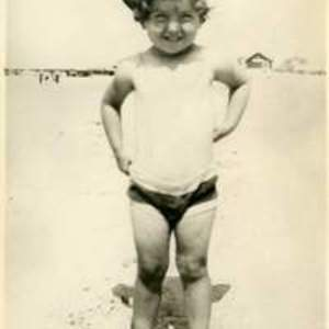 Young Mary Ellen Avery at the beach