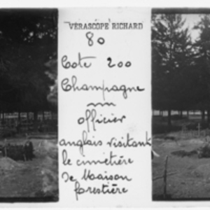English officer visiting a forest cemetery