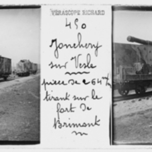 Artillery being transported by rail