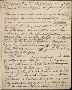Extract from Dr. Waterhouse's manuscript journal to Saratoga in the summer of 1794