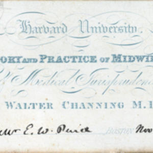 Admission ticket to the lectures on the theory and practice of midwifery and medical jurisprudence for E. W. Pierce, November 6, 1839.