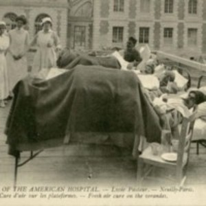 "American Ambulance Hospital Picture Postcards: ""The Morning Rounds"", ""Wounded Awaiting their Turn for Dressing"", and ""Fresh Air Cure on the Verandas."""